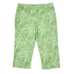 Talbots Curvy Fit Paisley Print Capri Pants Sz 14P
